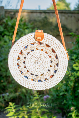 Bali bags rattan woven round bag bohemian white and batik