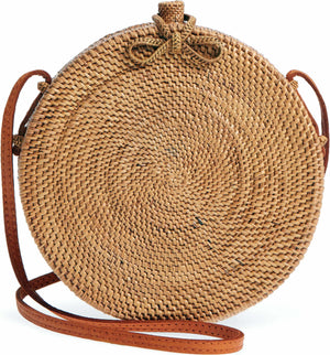 Round woven bags Bali bohemian natural bow clip