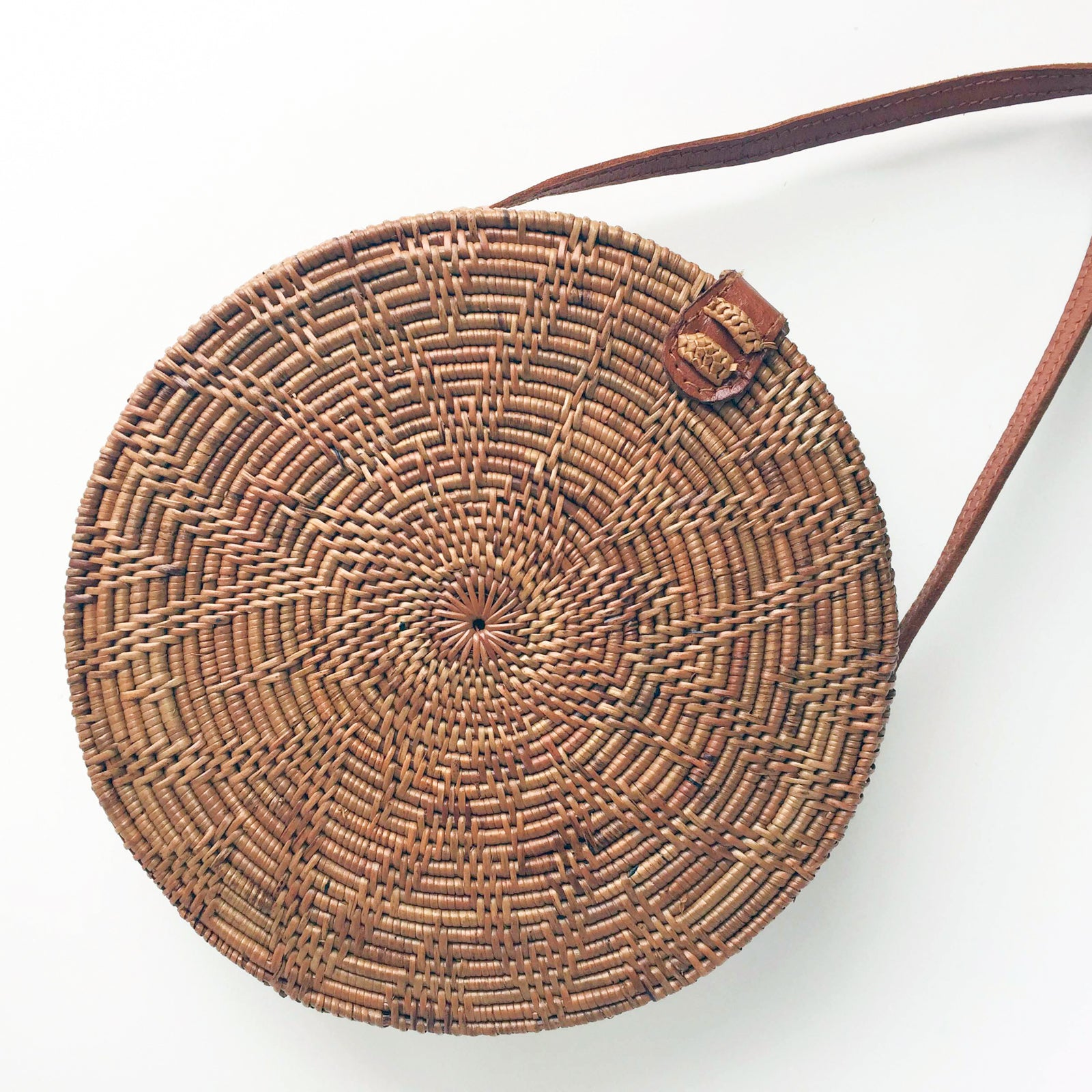 Bali bags rattan woven round bag bohemian natural star leather
