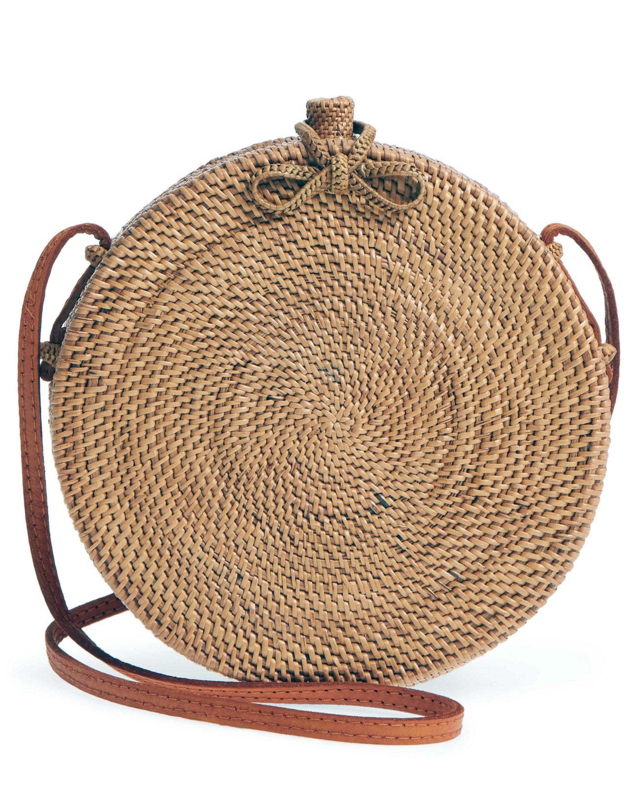 round rattan bag Natural circular pattern UK