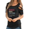 Grandma Knows Everything Shoulder T-shirts