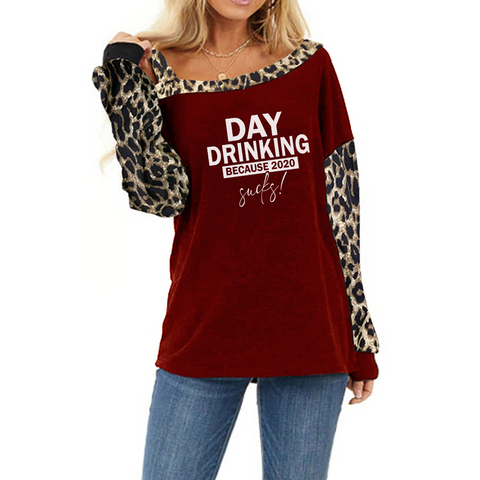 Day Drinking Shoulder Long Sleeve Leopard