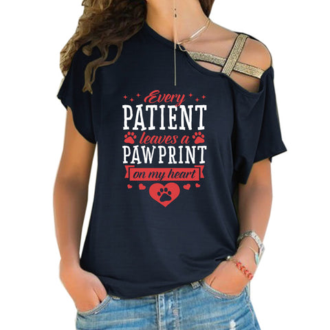 Every Patient Leaves A Pawprint Cross Shoulder T-shirts