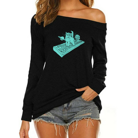 Cat On Synthesizer In Space Off Shoulder Long Sleeves 01