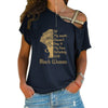 Black Woman Cross Shoulder T-shirts