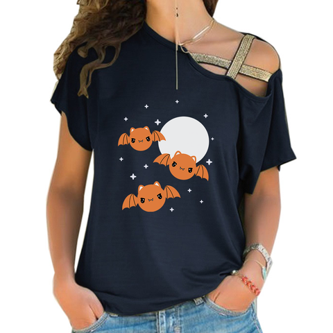 Cute Bats Halloween Cross Shoulder T-shirts