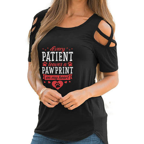 Every Patient Leaves A Pawprint Shoulder T-shirts