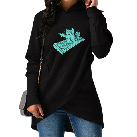 Cat On Synthesizer In Space Long Sweatshirts 01