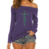 Faith Cross Christmas Light Off Shoulder Long Sleeves