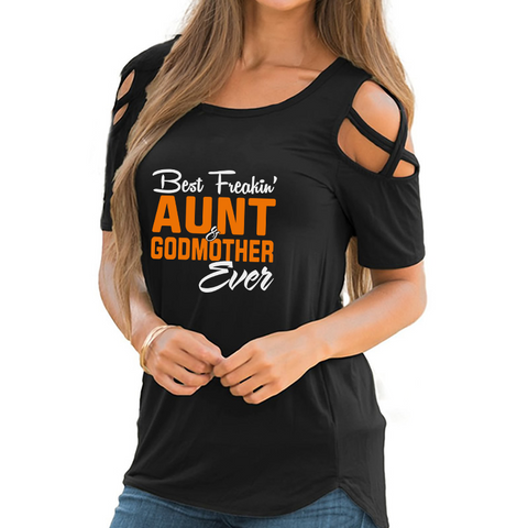 Best Aunt & Godmother Shoulder T-shirt