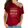 Born In Seattle Cross Shoulder T-shirts