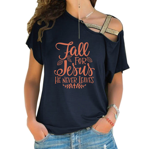 Fall For Jesus Cross Shoulder T-shirts 01
