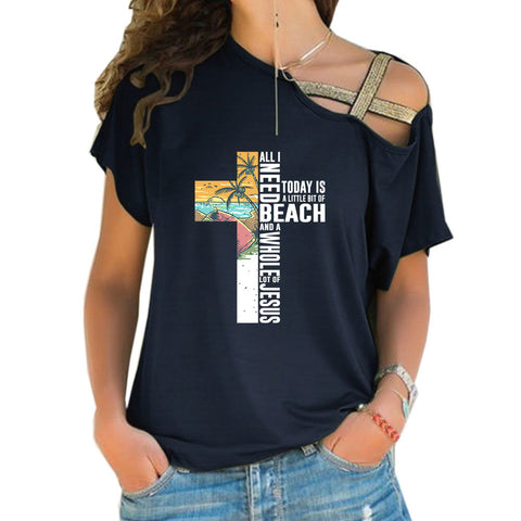 A Little Bit Of Beach Cross Shoulder T-shirts
