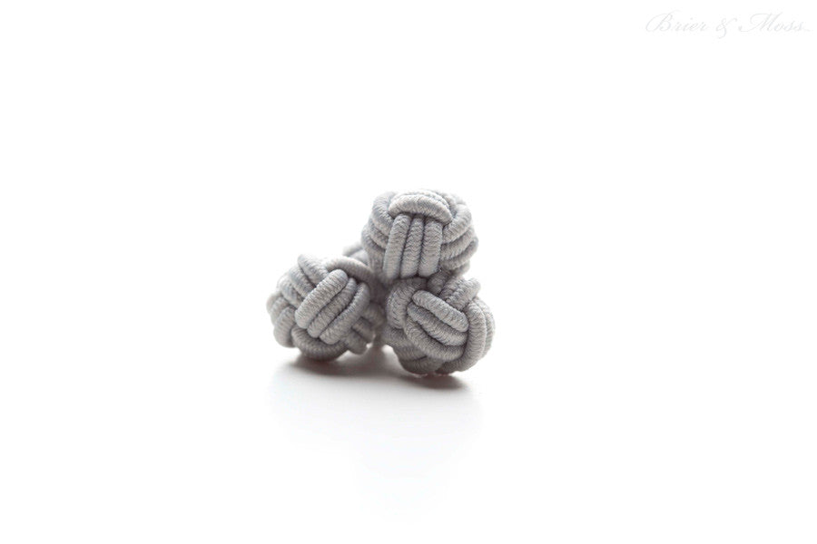Gray Silk Knot Cufflinks
