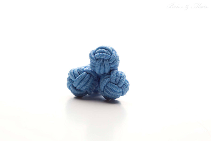 Light Blue Silk Knot Cufflinks