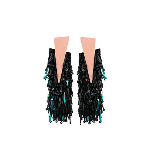 HERMES BLACK EARRINGS
