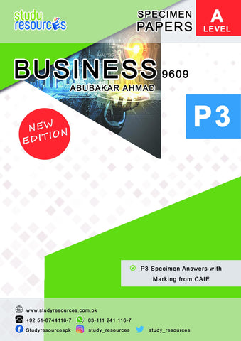 Cambridge A-Level Business (9609) P-3 Specimen Answers with Marking from CAIE
