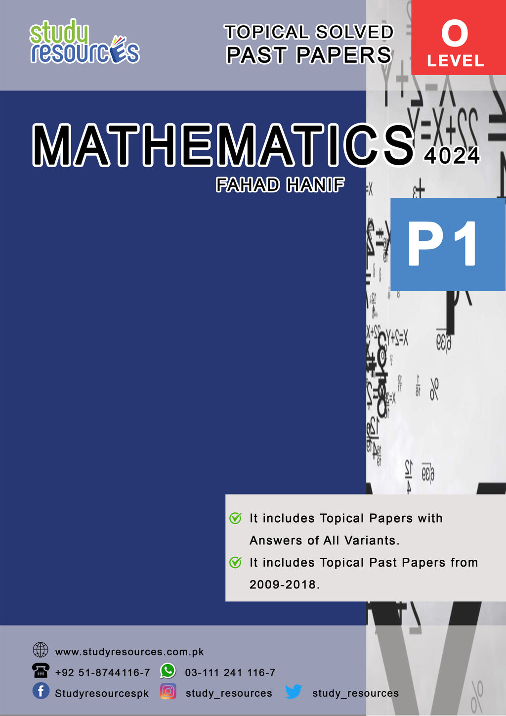 Cambridge O-Level Mathematics (4024) P-1 Topical Past Papers (2009-2018) by Fahad Hanif
