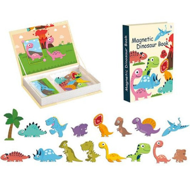 64 Pieces Magnetic Dinosaur Book