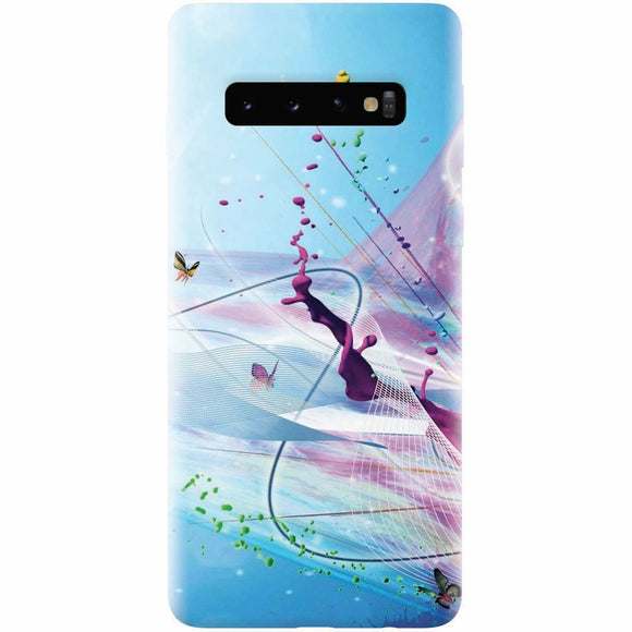 Husa silicon pentru Samsung Galaxy S10, Artistic Paint Splash Purple Butterflies
