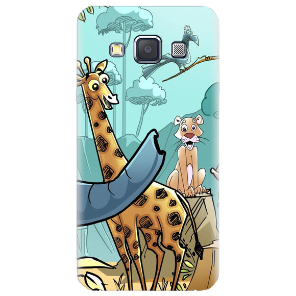 Husa silicon pentru Samsung Galaxy A3, Children Drawings Elephants Giraffes Lions