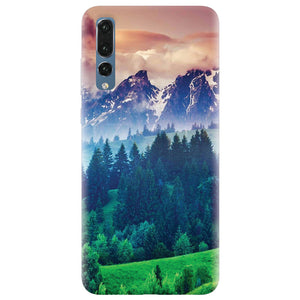 Husa silicon pentru Huawei P20 Pro, Forest Hills Snowy Mountains And Sunset Clouds