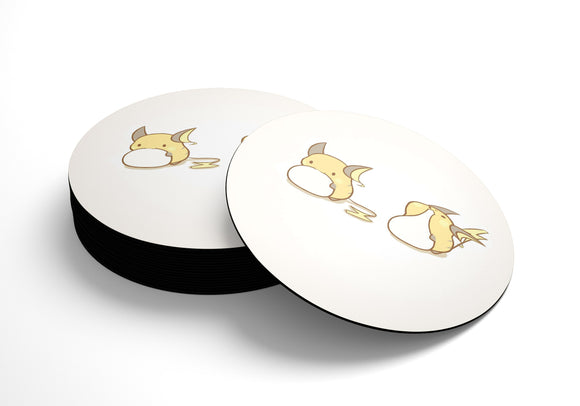 Suport pahare cauciucat rotund Pokemon Food Raichu Simple Background Eating Yellow Mochi