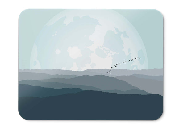 Mouse Pad Planet Moon Mountains Birds Minimal - 21.5 X 27 X 0.3cm