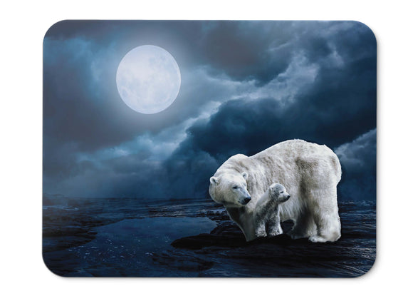 Mouse Pad Polar Bears Full Moon Hd - 21.5 X 27 X 0.3cm