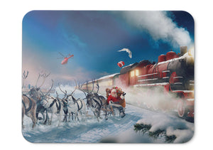 Mouse Pad Polar Express Reindeer Chariot Santa Claus Gifts Winter  - 21.5 X 27 X 0.3cm