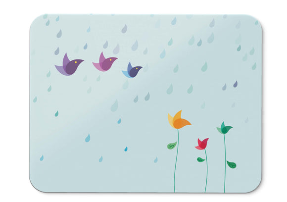 Mouse Pad Rainy Day Birds Flowers Colorful Hd  - 21.5 X 27 X 0.3cm