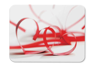 Mouse Pad Red Ribbon Love Hearts Hearts  - 21.5 X 27 X 0.3cm