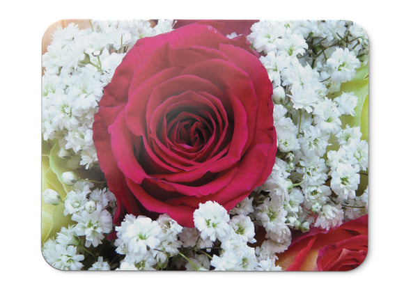 Mouse Pad Red Rose Flower Bouquet Hd  - 21.5 X 27 X 0.3cm