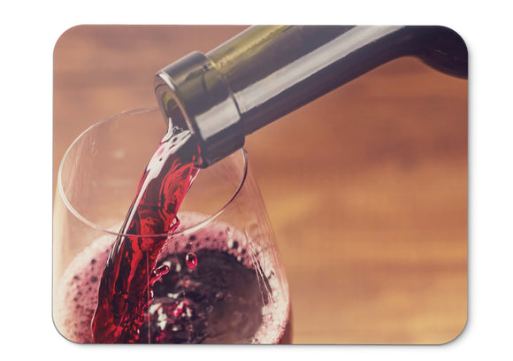 Mouse Pad Red Wine Glass Bottle - 21.5 X 27 X 0.3cm