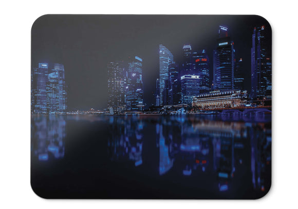 Mouse Pad Singapore Cityscape Nightscape Modern Urban Reflections Hd  - 21.5 X 27 X 0.3cm