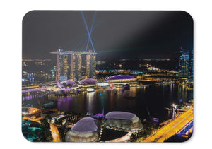 Mouse Pad Singapore Marina Bay Night View Architecture Skyline Hd - 21.5 X 27 X 0.3cm