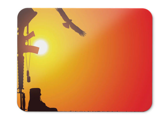 Mouse Pad Soldier Gear Machine Gun Combat Helmet Sunset Hd  - 21.5 X 27 X 0.3cm