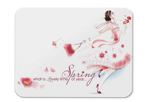 Mouse Pad Spring Lovely Time Woman Girl - 21.5 X 27 X 0.3cm