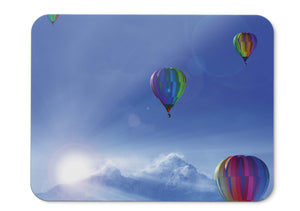 Mouse Pad Sunny Day Hot Air Balloons Winter Mountains Sunlight Blue  - 21.5 X 27 X 0.3cm