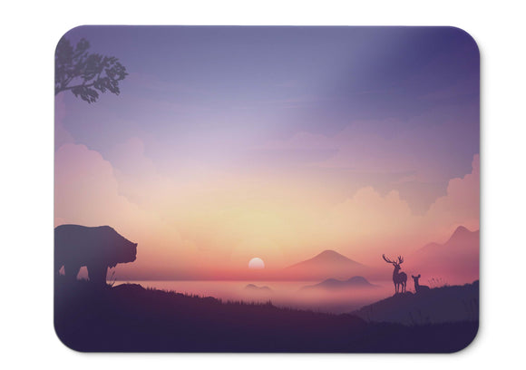 Mouse Pad Sunrise Morning Bear Mountains Foggy Silhouette Hd  - 21.5 X 27 X 0.3cm