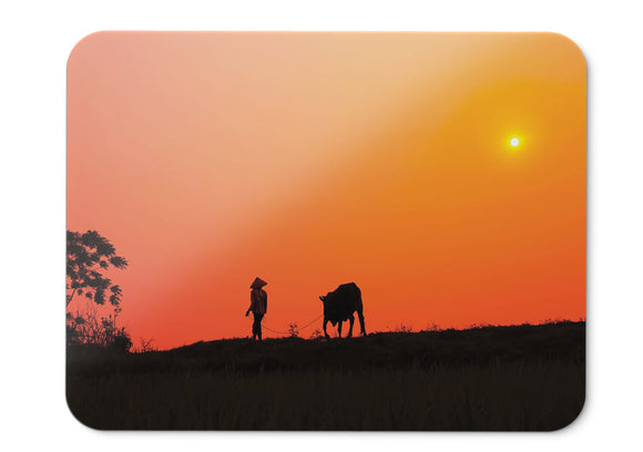 Mouse Pad Sunset Cow Villiage Silhouette  - 21.5 X 27 X 0.3cm