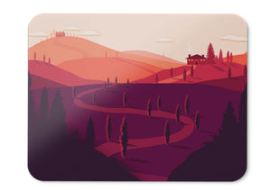 Mouse Pad Sunset Landscape Summer Tuscany Italy Silhouette Red Hd - 21.5 X 27 X 0.3cm