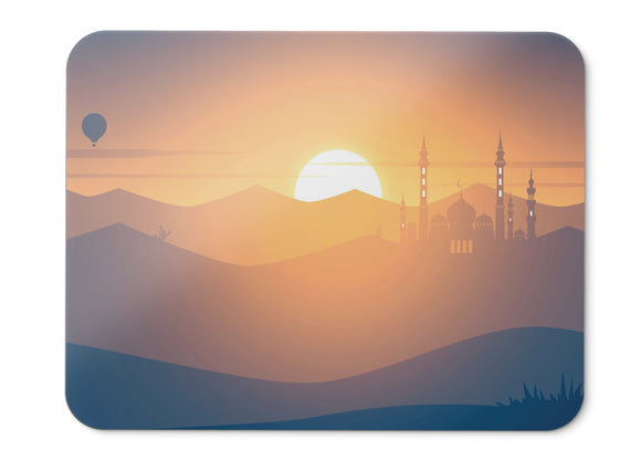 Mouse Pad Sunset Mosque Hot Air Balloons Landscape Minimal - 21.5 X 27 X 0.3cm
