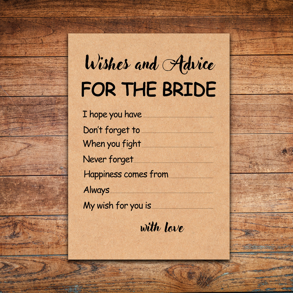 advice and wishes for the bride bridal shower game wedding shower advice for the bride