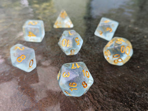 Glacial Mint Polyhedral Dice Set - Semi Transparent Blue Green Dice with Green and Pink Reflect Glitter