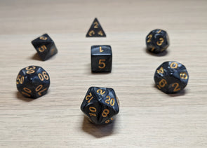 Gone Rogue Polyhedral Dice Set - Opaque Charcoal Marble Effect