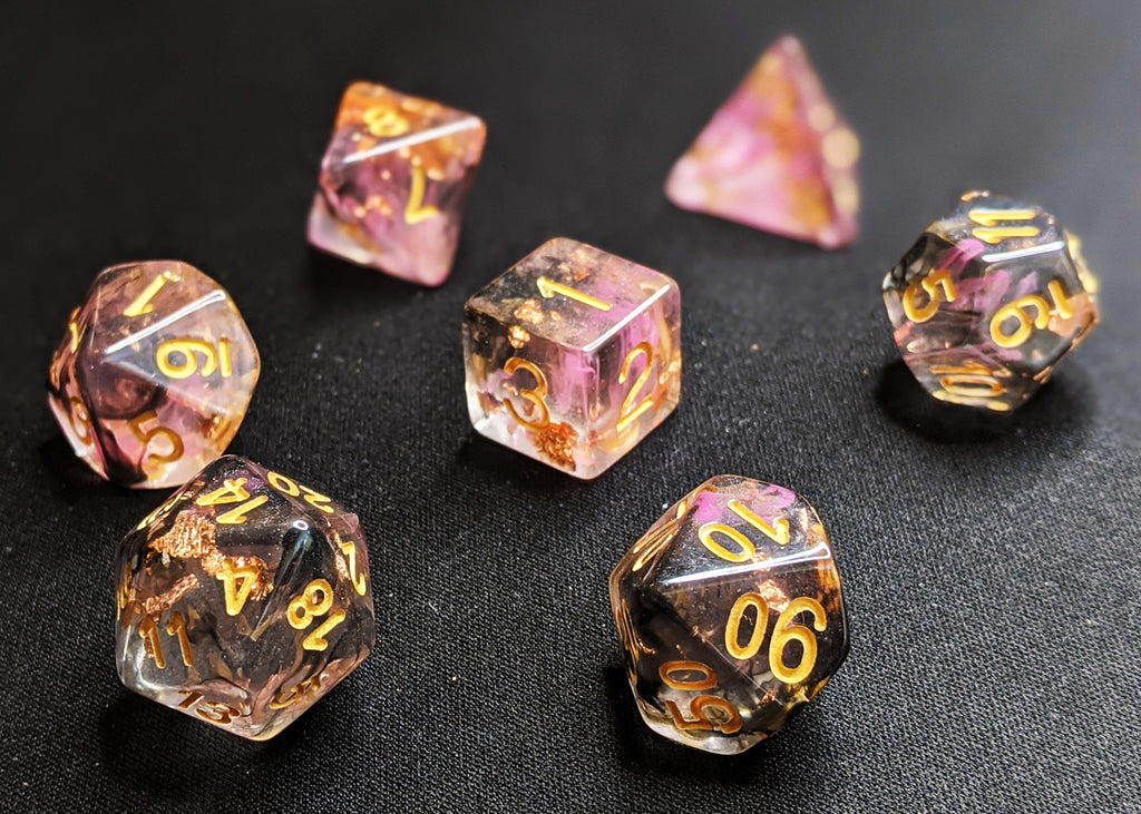 Campfire Polyhedral Dice Set - Clear with Black and Muted Crimson Swirls, and Gold Flake
