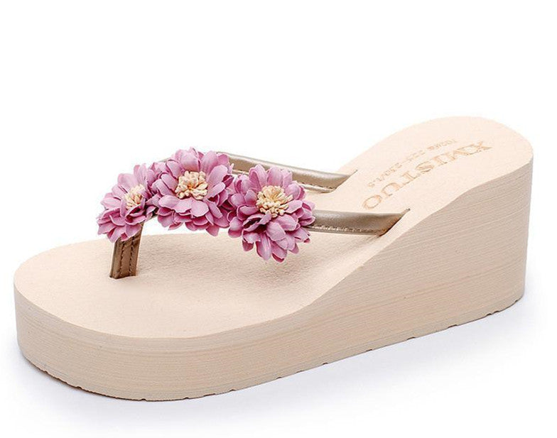 Women Fashion Flower Platform Flip Flops Beach Slipper