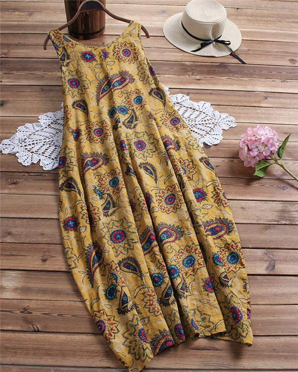 Feather Totem Sleeveless Casual Dress