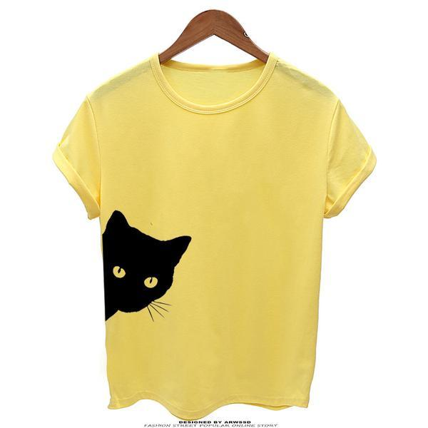 Women Casual Funny Print  Cat Looking Outside Plus Size T-shirts Tops